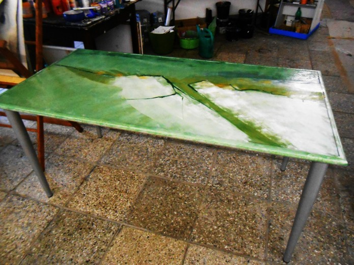 bemalter Tisch, Acrylmalerei, abstrakte Kunst