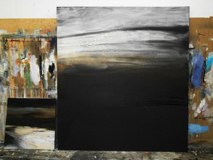 Nachts an der See, 220/200 cm, in Arbeit, Acryl auf Leinwand, 2014, abstrakte Malerei, abstrakte Kunst, Bilder kaufen, Atelier Conny Niehoff