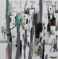 In die Stadt hinauf steigen 100/100 cm Preis auf Anfrage, abstrakte Malerei im Ateler von Conny Niehoff, moderne Bilder, Großformatige Malerei