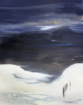 Sanftes Wasser 80/100 cm Preis auf Anfrage, abstrakte Landschaftsmalerei, Kunst von Conny Niheoff, Kunstwerke kaufen