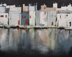 Stadt am Fluß, abstraktes Bild