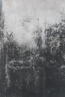 Wald, abstrakte Landschaft, abstrakte Kunst auf Leinwand, schwart weiß